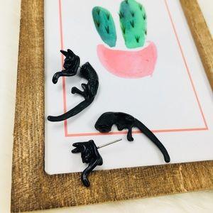 Beautiful Skinny Black Cat Animal Earrings